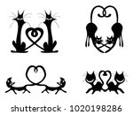 black love heart cat couples... | Shutterstock .eps vector #1020198286