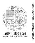 sport fit doodle illustration... | Shutterstock .eps vector #1020200236