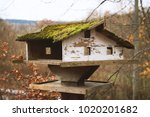 Old Rustic Birdhouse With Roof...
