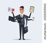 funny cartoon character. office ... | Shutterstock . vector #1020205042
