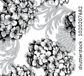 seamless pattern with hydrangea.... | Shutterstock .eps vector #1020207682