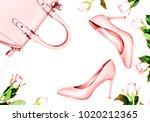 pastel pink women high heel... | Shutterstock . vector #1020212365