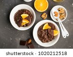 chocolate rice pudding porridge ... | Shutterstock . vector #1020212518