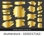 set of gold paint  ink brush... | Shutterstock .eps vector #1020217162