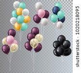 vector realistic bunch helium... | Shutterstock .eps vector #1020218095