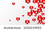 follow icon. notifications with ... | Shutterstock .eps vector #1020219052