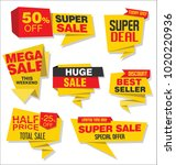 modern origami sale stickers... | Shutterstock .eps vector #1020220936