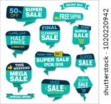 modern origami sale stickers... | Shutterstock .eps vector #1020220942