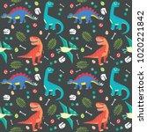 baby dinosaur seamless pattern... | Shutterstock .eps vector #1020221842