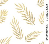 golden tropical leaves seamless ... | Shutterstock .eps vector #1020225235