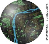 prague vector map button with... | Shutterstock .eps vector #1020226096