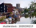 boats moored on the avon... | Shutterstock . vector #1020230215