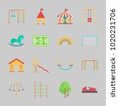 icons about amusement park with ... | Shutterstock .eps vector #1020231706