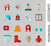 icons about winter with coat ...   Shutterstock .eps vector #1020233692