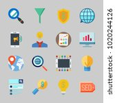 icons about seo with analytics  ... | Shutterstock .eps vector #1020244126