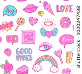 vector fashion fun patches... | Shutterstock .eps vector #1020247438