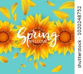 inscription welcome spring in... | Shutterstock .eps vector #1020248752