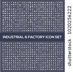 industrial and factory icon set ... | Shutterstock .eps vector #1020256222