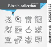 bitcoin outline icon set... | Shutterstock .eps vector #1020258922