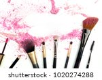 traces of vibrant pink powder... | Shutterstock . vector #1020274288