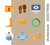 icons egypt with hand  pencil ... | Shutterstock .eps vector #1020275536