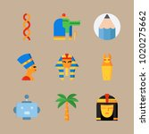 icons egypt with pharaoh  robot ... | Shutterstock .eps vector #1020275662