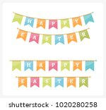 happy easter bunting  white... | Shutterstock .eps vector #1020280258