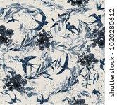birds and flowers in grunge... | Shutterstock .eps vector #1020280612