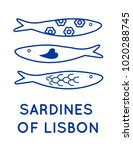 sardines of lisbon portugal... | Shutterstock .eps vector #1020288745