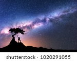 milky way and silhouette of... | Shutterstock . vector #1020291055
