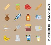 icons gastronomy with wood... | Shutterstock .eps vector #1020292606