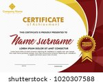 certificate template with... | Shutterstock .eps vector #1020307588
