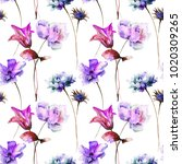 seamless pattern with stylized... | Shutterstock . vector #1020309265
