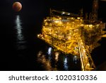 offshore the night industry oil ... | Shutterstock . vector #1020310336