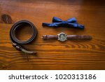 groom s accessories  blue... | Shutterstock . vector #1020313186