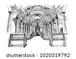 vector sketch of interior of... | Shutterstock .eps vector #1020319792
