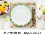 spring easter table setting... | Shutterstock . vector #1020325186