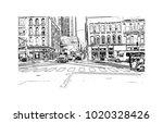 downtown street view in... | Shutterstock .eps vector #1020328426