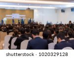 blur of business conference and ... | Shutterstock . vector #1020329128