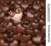 sweet chocolate hearts pile  3d ...   Shutterstock . vector #1020330076