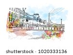 downtown street with buildings... | Shutterstock .eps vector #1020333136