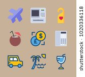 icons travel with cocktail  ...   Shutterstock .eps vector #1020336118