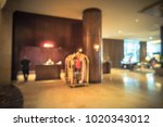 blurred luxury lobby reception... | Shutterstock . vector #1020343012