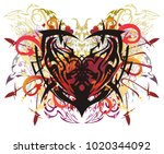 colorful ethnic heart in grunge ... | Shutterstock .eps vector #1020344092