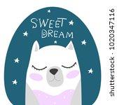 cute. polar bear. scandinavian... | Shutterstock .eps vector #1020347116
