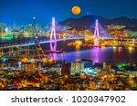 beautiful bridge in busan port...   Shutterstock . vector #1020347902