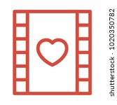 film and love icon outline... | Shutterstock .eps vector #1020350782