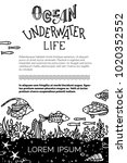 vector ocean underwater life...   Shutterstock .eps vector #1020352552