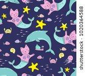 cute seamless pattern under the ... | Shutterstock .eps vector #1020364588