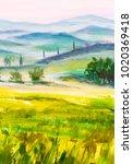 painting italian tuscany  green ... | Shutterstock . vector #1020369418
